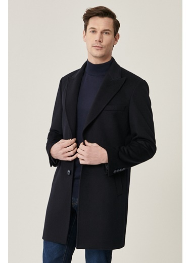 Beymen Business 4B0521100009 Standart Fit Palto Düz Lacivert